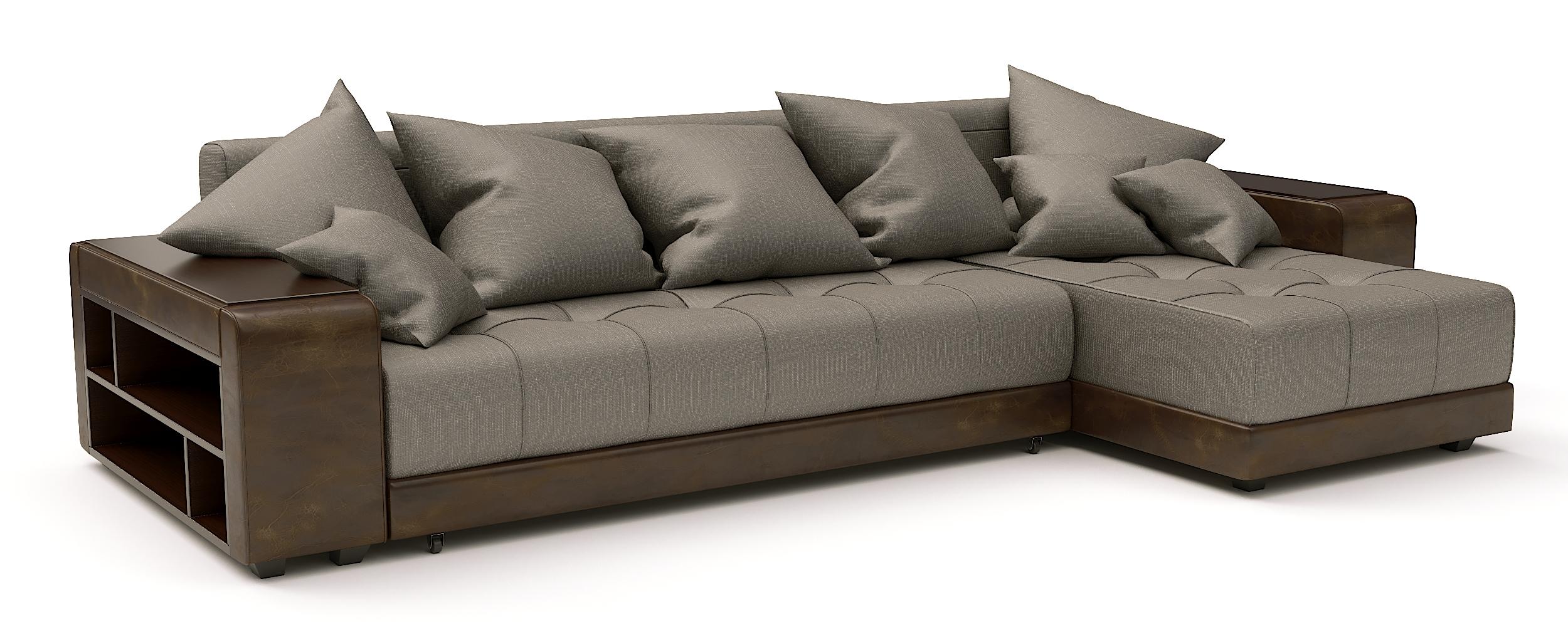 Угловой диван Атлет еврокнижка рогожка коричневая + экокожа коричневая