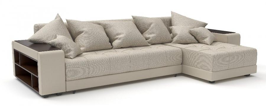 Угловой диван Атлет еврокнижка рогожка бежевая + экокожа бежевая