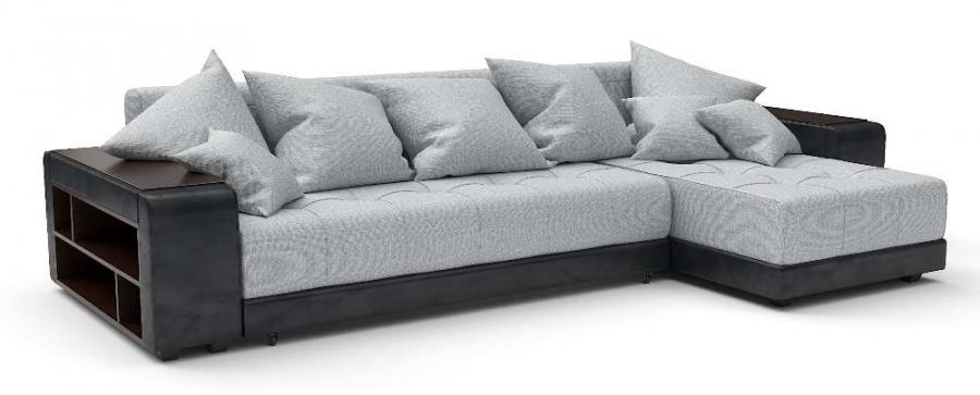 Угловой диван Атлет еврокнижка рогожка серая + экокожа черная
