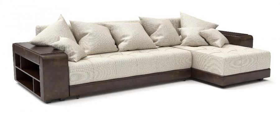 Угловой диван Атлет еврокнижка рогожка бежевая + экокожа коричневая