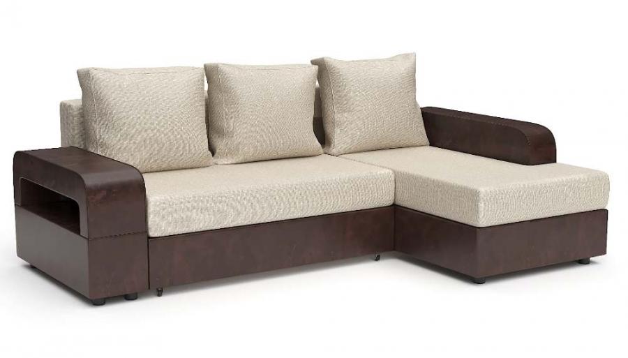 Угловой диван Комфорт Люкс еврокнижка бежевая рогожка + коричневая экокожа