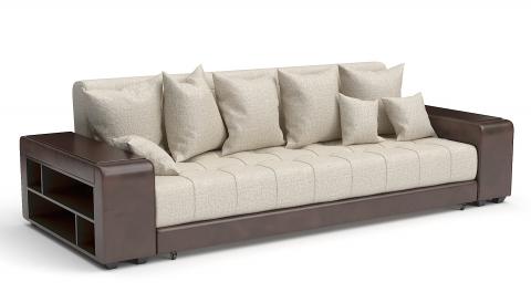 Прямой диван Монако еврокнижка бежевая рогожка + коричневая экокожа