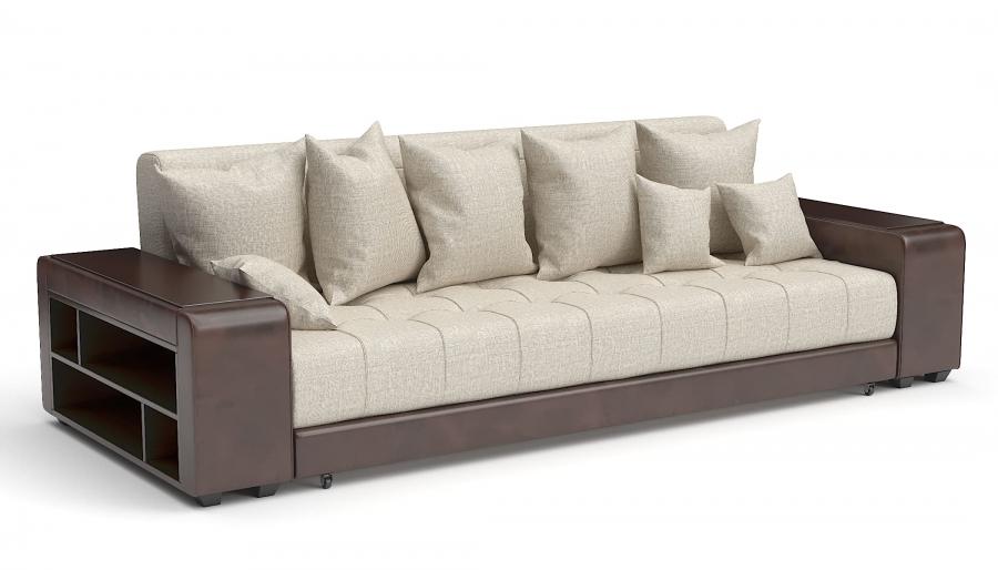Прямой диван Атлет Еврокнижка рогожка беж + экокожа коричневая