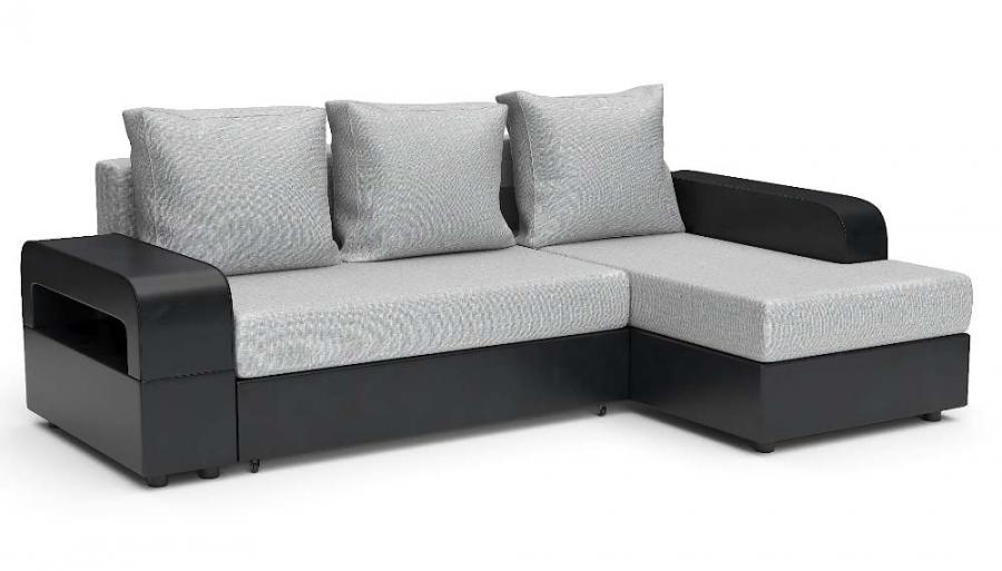 Угловой диван Комфорт Люкс еврокнижка серая рогожка + черная экокожа