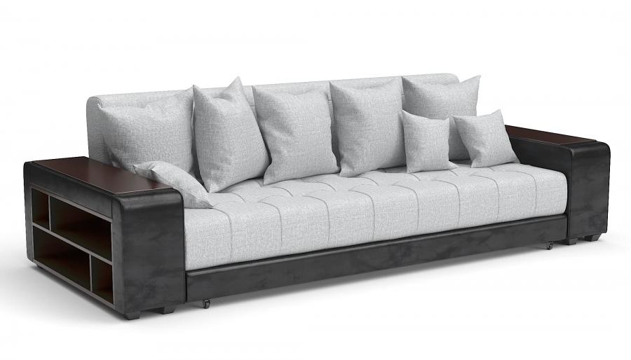 Прямой диван Атлет Еврокнижка рогожка серая + экокожа черная
