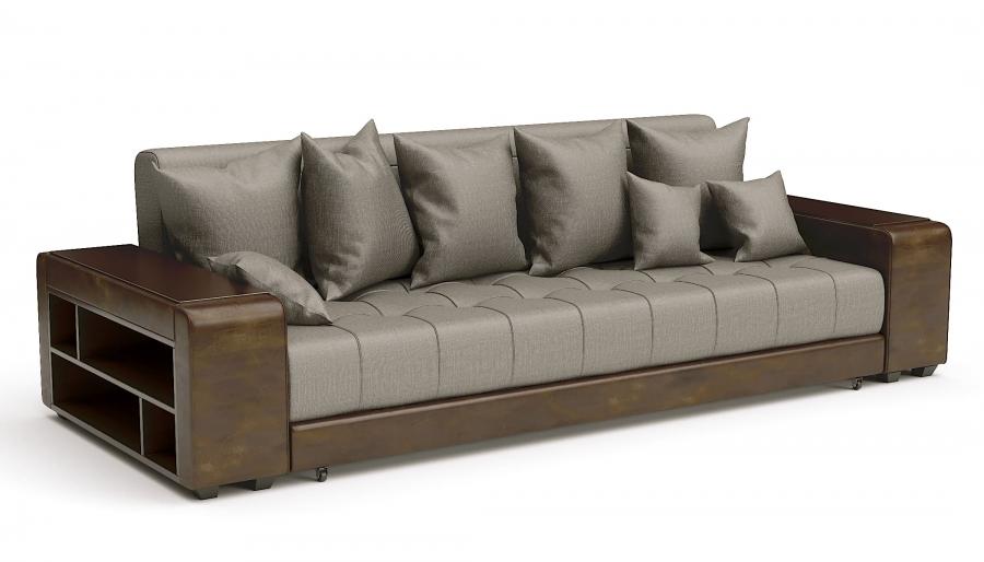 Прямой диван Атлет Еврокнижка рогожка коричневая + экокожа коричневая