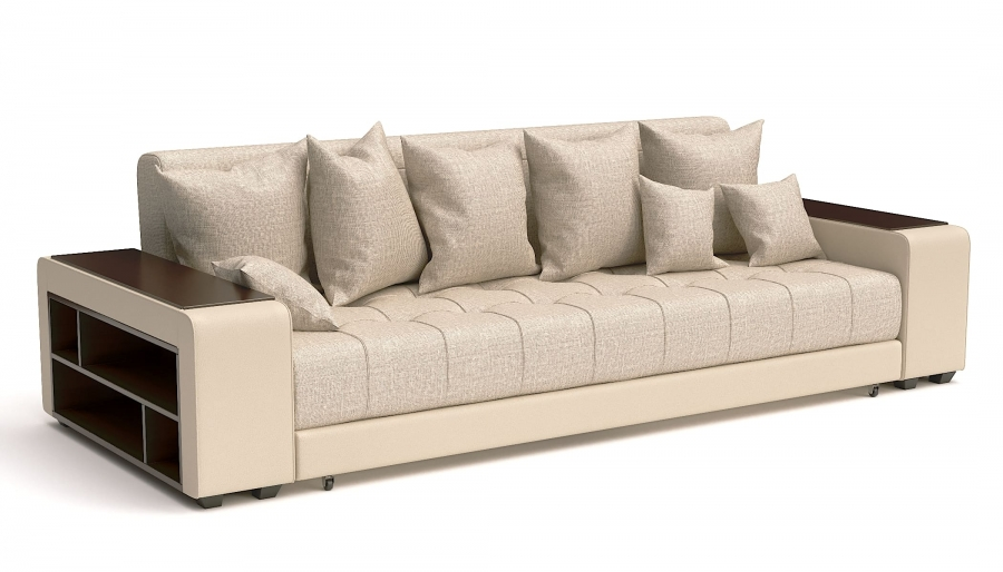 Прямой диван Атлет Еврокнижка рогожка беж + экокожа беж