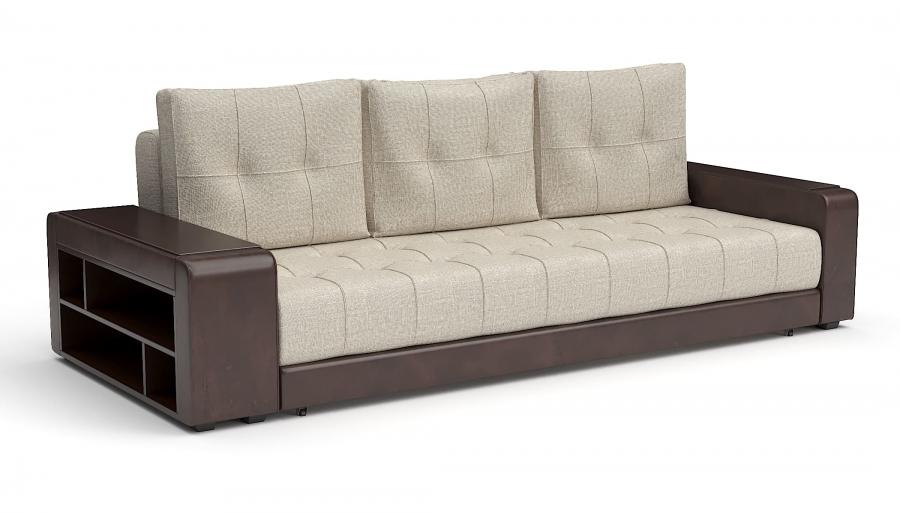 Прямой диван Мечта еврокнижка экокожа коричневая + рогожка беж