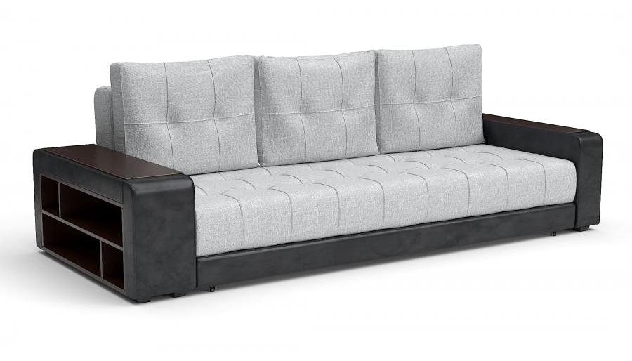 Прямой диван Мечта еврокнижка экокожа черная + рогожка серая