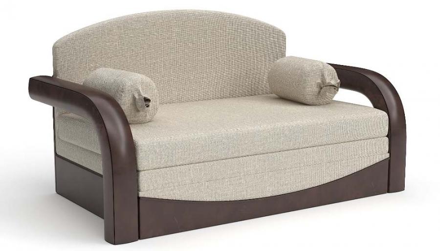 Прямой диван детский Элегия выкатной экокожа коричневая + рогожка беж