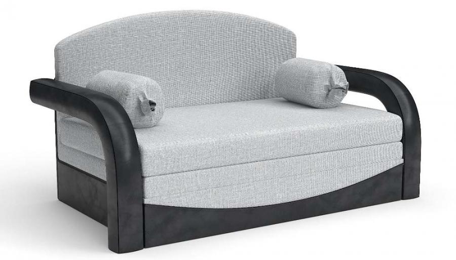 Прямой диван детский Элегия выкатной черная экокожа + серая рогожка