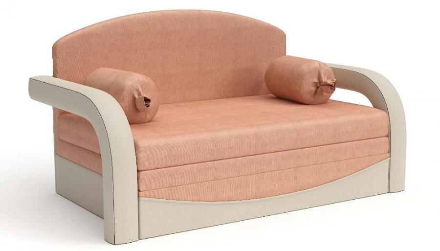 Прямой диван детский Элегия выкатной бежевая экокожа + оранжевый велюр