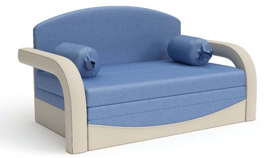 Прямой диван детский Элегия выкатной бежевая экокожа + синий велюр