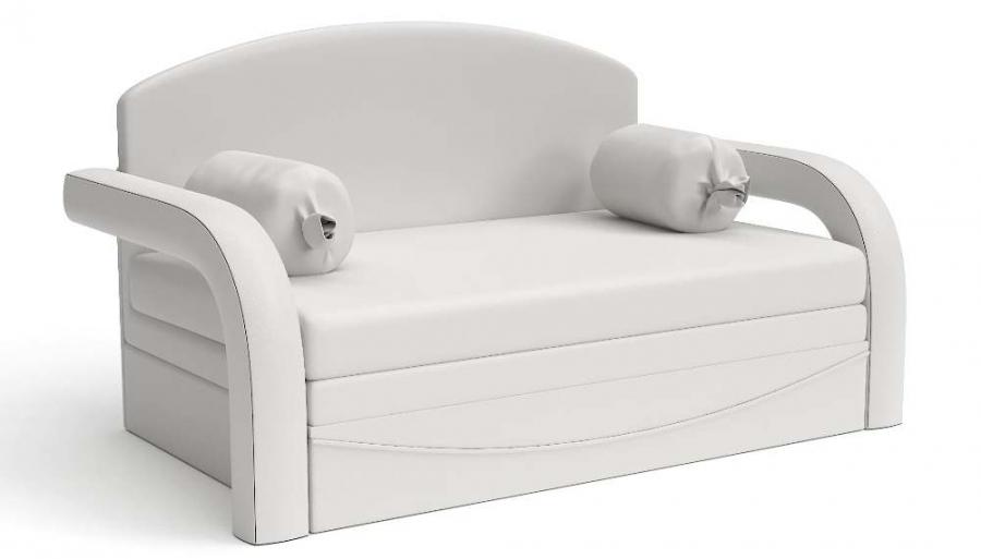 Прямой диван детский Элегия выкатной белая экокожа