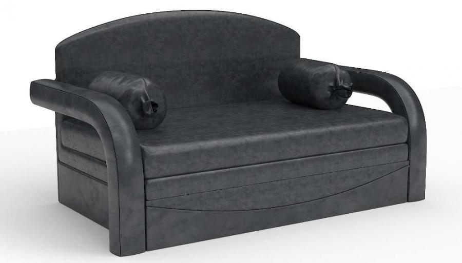 Прямой диван детский Элегия выкатной черная экокожа