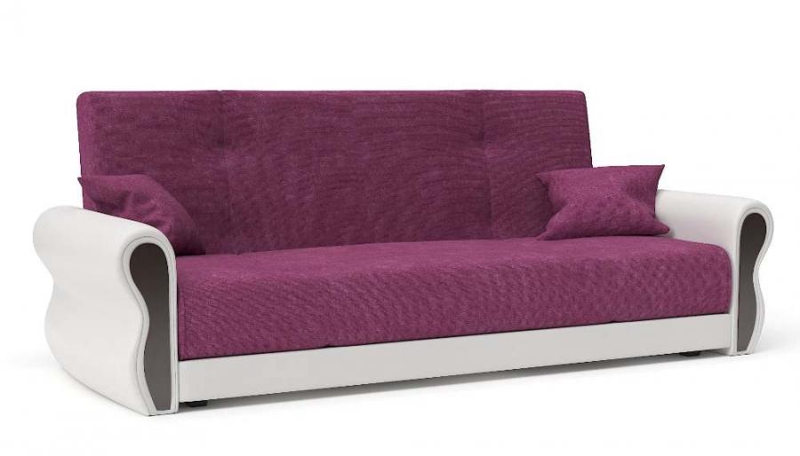 Прямой диван Алиса книжка велюр фуксия + экокожа белая