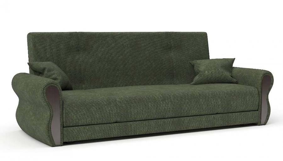 Прямой диван Алиса книжка 76 велюр зеленый
