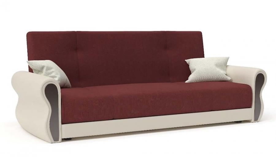 Прямой диван Алиса книжка велюр бордовый + экокожа беж