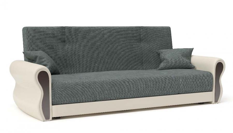 Прямой диван Алиса книжка велюр темно-серый + экокожа беж