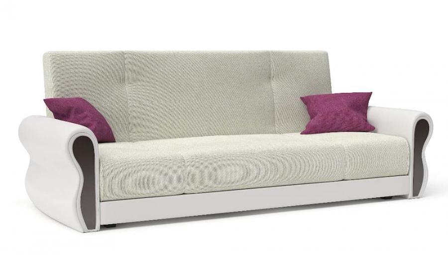 Прямой диван Алиса книжка велюр белый + экокожа белая