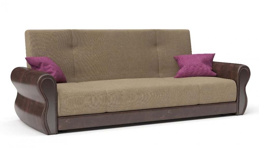 Прямой диван Алиса книжка велюр беж + экокожа коричневая с подушками фуксия