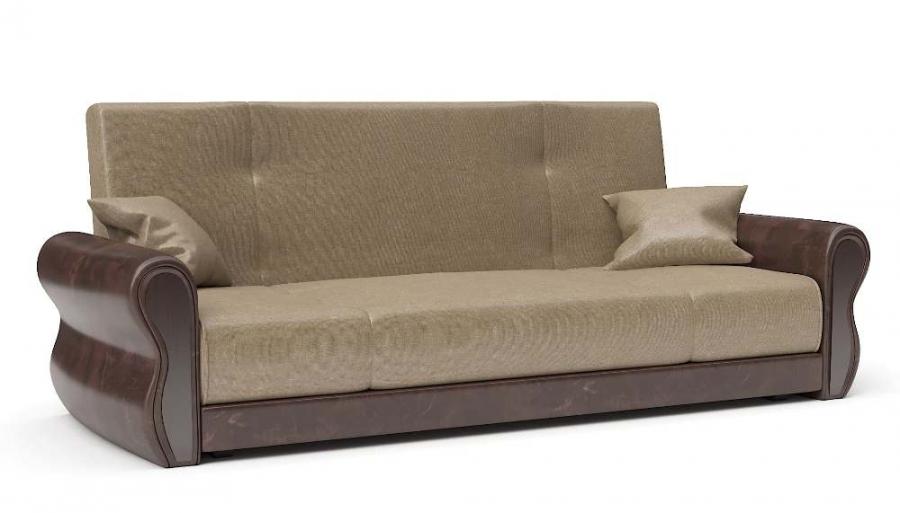 Прямой диван Алиса книжка велюр беж + экокожа коричневая