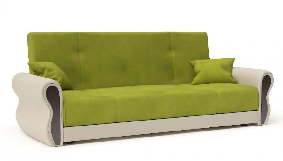 Прямой диван Алиса книжка велюр яблоко + экокожа беж