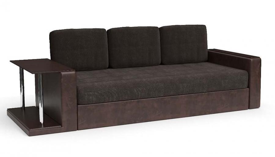 Прямой диван Адонис еврокнижка со столиком велюр коричневый + экокожа коричневая