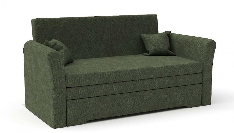 Прямой диван Виктория выкатной темно-зеленый велюр