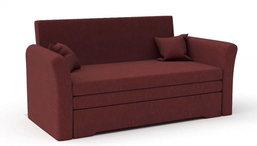 Прямой диван Виктория выкатной бордовый велюр