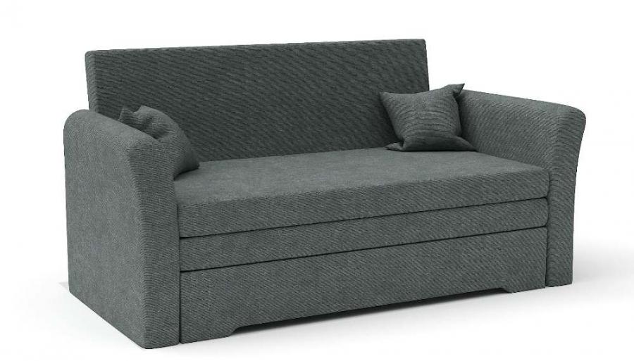 Прямой диван Виктория выкатной темно-серый велюр
