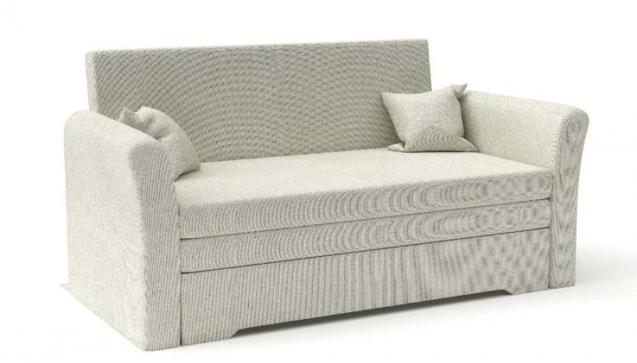 Прямой диван Виктория выкатной белый велюр