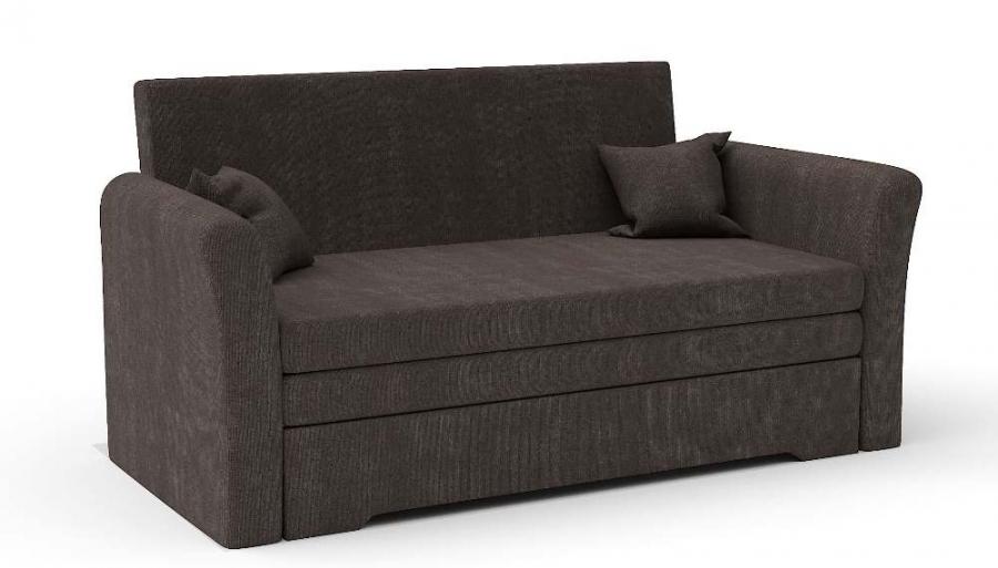 Прямой диван Виктория выкатной коричневый велюр