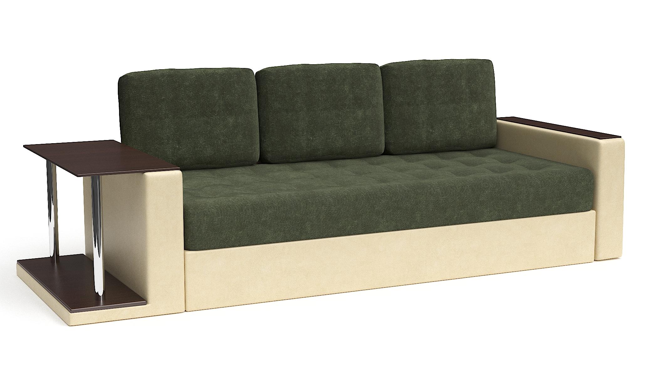 Прямой диван Фларенсия со столом еврокнижка зеленый велюр + бежевая экокожа