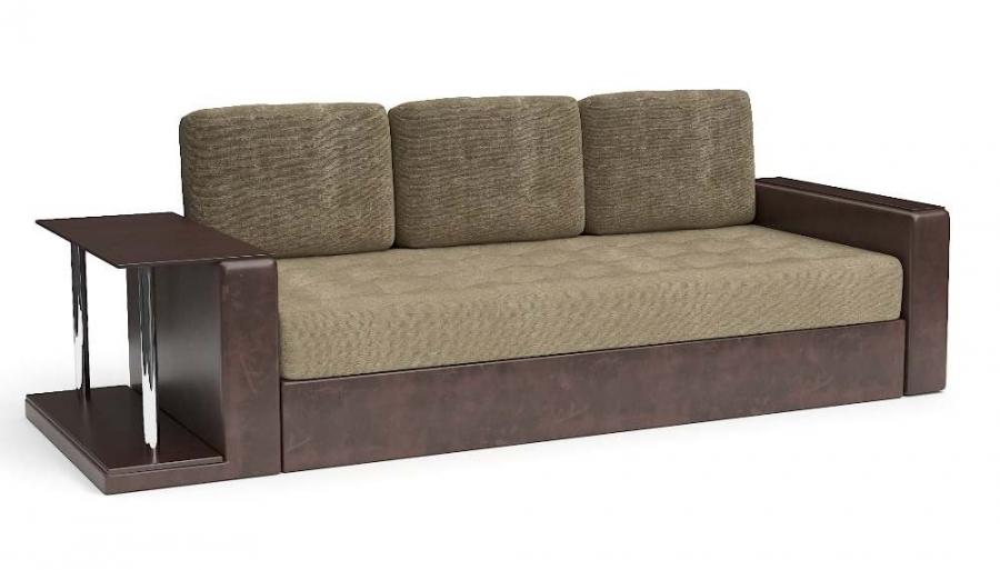 Прямой диван Адонис еврокнижка со столиком велюр бежевый + экокожа коричневая