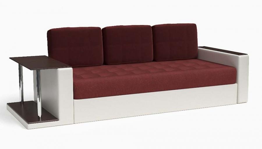 Прямой диван Адонис еврокнижка экокожа белая + велюр бордовый