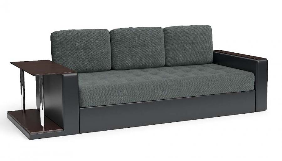 Прямой диван Адонис еврокнижка со столиком велюр темно-серый + экокожа черная