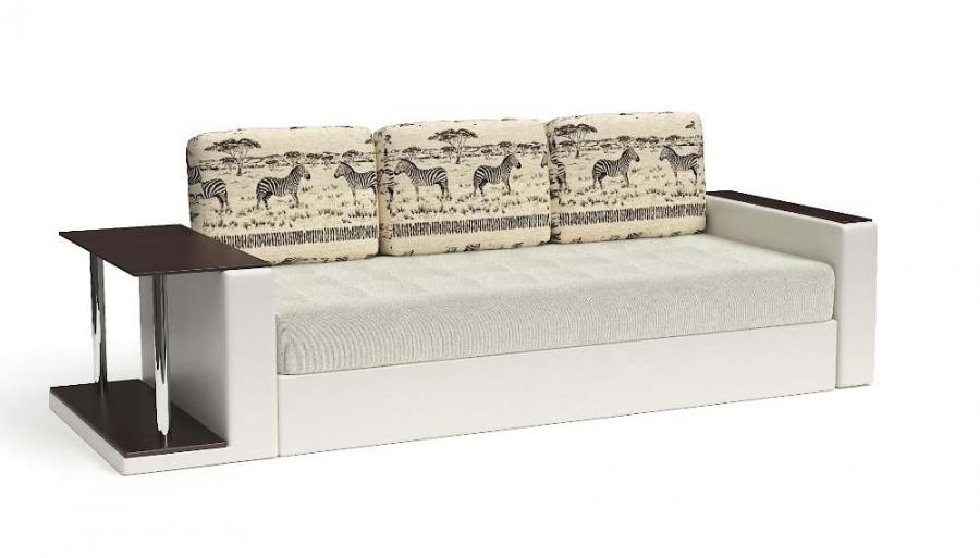 Прямой диван Адонис с подушками Animal еврокнижка экокожа белая + велюр белый
