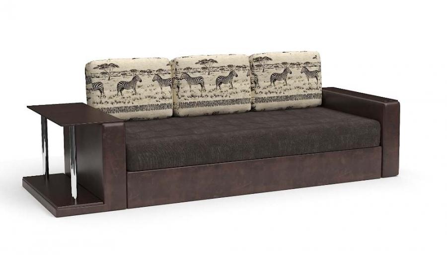 Прямой диван Адонис с подушками Animal еврокнижка экокожа коричневая + велюр коричневый