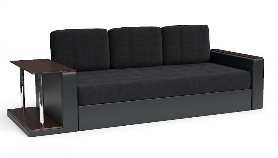 Прямой диван Адонис еврокнижка со столиком велюр черный + экокожа черная