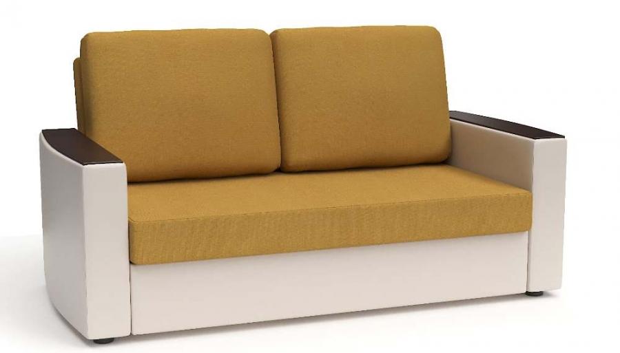 Прямой диван Готика аккордеон-евро экокожа бежевая + рогожка горчичная