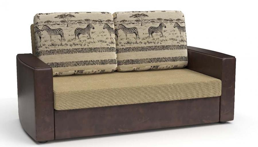 Прямой диван Готика аккордеон-евро экокожа коричневая + рогожка беж