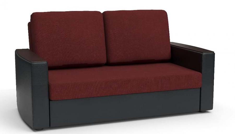 Прямой диван Готика аккордеон-евро экокожа черная + рогожка бордовая