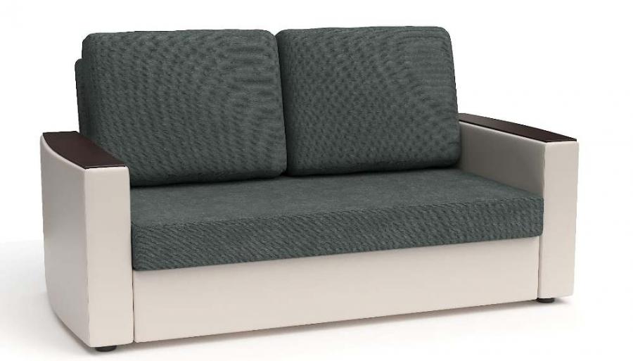 Прямой диван Готика аккордеон-евро экокожа бежевая + рогожка темно-серая