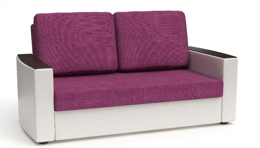 Прямой диван Готика аккордеон-евро экокожа белая + рогожка фуксия