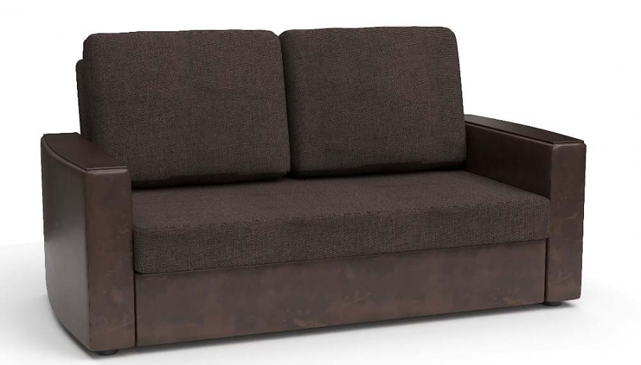 Прямой диван Готика аккордеон-евро экокожа коричневая + рогожка коричневая