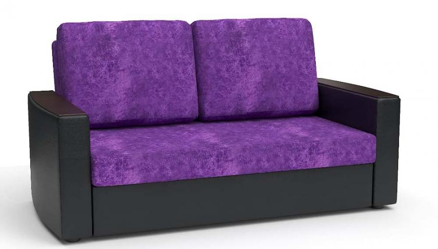 Прямой диван Готика аккордеон-евро экокожа черная + велюр фиолетовый