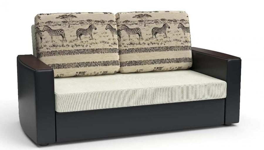 Прямой диван Готика аккордеон-евро экокожа черная + рогожка белая