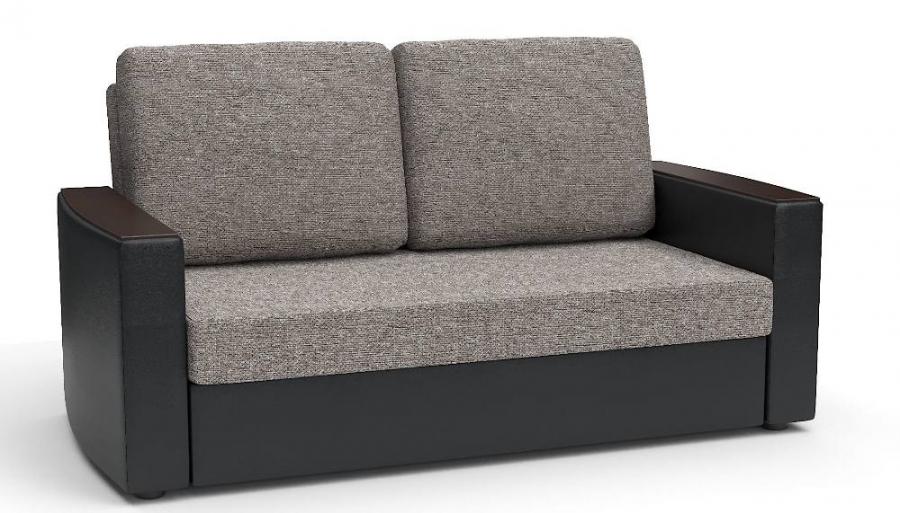 Прямой диван Готика аккордеон-евро экокожа черная + рогожка беж