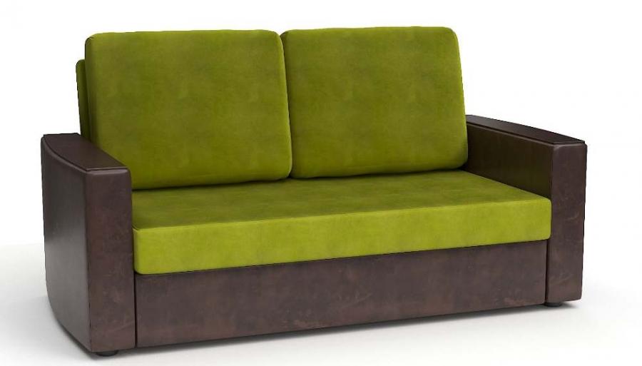 Прямой диван Готика аккордеон-евро экокожа коричневая + велюр яблоко